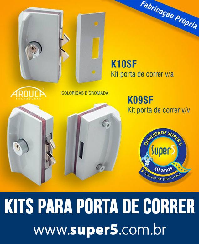 Kits para Porta de Correr Vidro Vidro e Vidro Alvenaria
