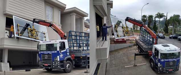 Vidro Jumbo Transporte Içamentos de Vidros até o Caixilho